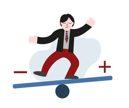 Bipolar disorder concept. Man balancing on unstable swing. Vector flat illustration.