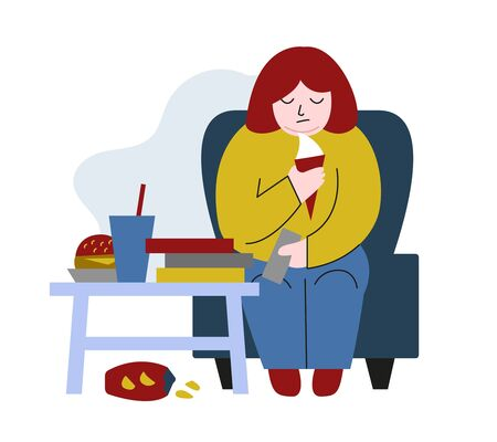 Obese young man. Fat boy sitting on chair. Concept of obesity, binge eating disorder, food addiction. Mental illness, behavioral problem, psychiatric condition. Flat cartoon vector illustration.
