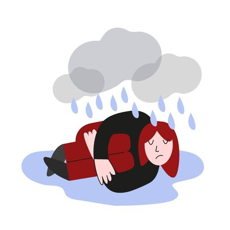 Depressed person lying on the floor in puddle of tears. Vector flat illustration concept.