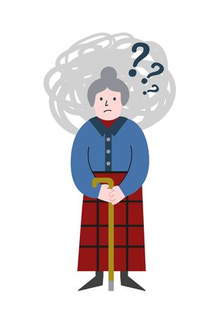 Dementia concept with memory loss of old woman. Gray haired grabby staying confused. Vector flat illustration concept.