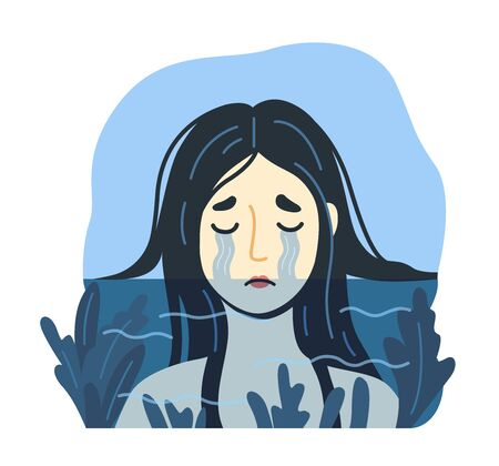 Sad crying woman drowning in a sea of her tears. Depression concept. Unhappy suffering girl. Hand-drawn vector illustration.  イラスト・ベクター素材