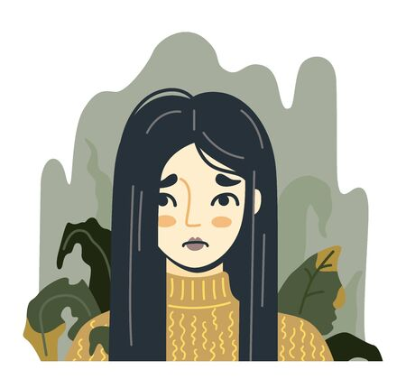 Woman on the background of dried withered plants. Concept of depressive disorder. Portrait of unhappy suffering girl. Hand drawn vector illustration. Illustration