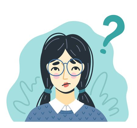 Portrait of thinking young girl in glasses, searching for ideas. Question concept. Hand-drawn character. Vector illustration.  イラスト・ベクター素材