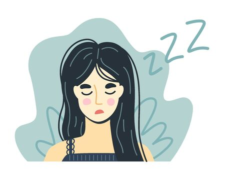 Portrait of a tired exhausted falling asleep woman with tousled hair. Hand-drawn character. Vector illustration. Illustration