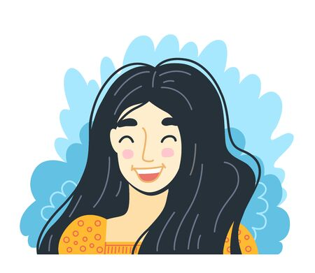 Portrait of joyful laughing girl. Happy young woman. Hand-drawn character, face, head, avatar. Vector isolated illustration.  イラスト・ベクター素材