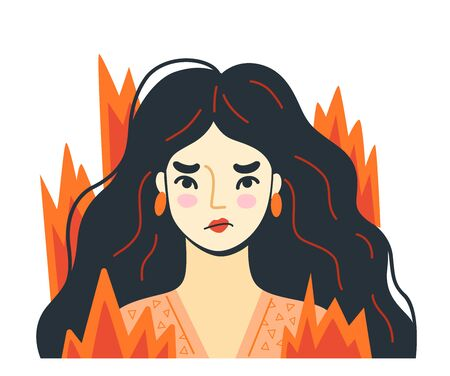Overworked woman on the verge of psychological breakdown, surrouded by fire. Angry furious girl with wild disheveled hair. Stressed irritated person. Vector hand-drawn illustration.