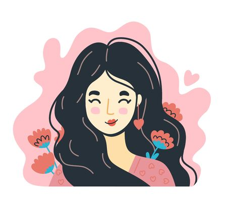 Portrait of woman in love with flowers around on a pink background. Hand-drawn character, face, head, avatar. Vector isolated illustration.  イラスト・ベクター素材
