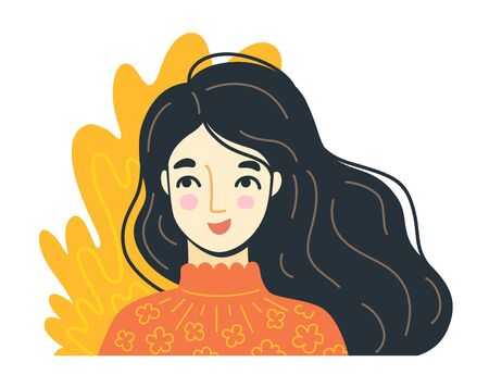 Portrait of charming joyful woman. Happy young girl. Hand-drawn character, face, head, avatar. Vector isolated illustration.