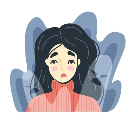 Frightened, scared young woman surrounded by imaginary ghosts flying around her. Panic attack, fears, paranoia and sleeping disorder. Vector hand-drawn illustration. Illustration