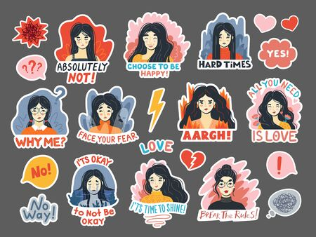 Portraits of young women expressing various emotions. Joy, delight, laughter, happiness, love, sadness, fear and anger. Hand-drawn faces, heads, characters with quotes. Cartoon vector sticker pack.