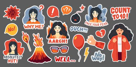 Anger, emotional breakdown, irritation, rejection concept. Furious refusal women, bomb, volcano, fire, burning match and lightning. Isolated stickers pack. Hand-drawn vector illustration.  イラスト・ベクター素材