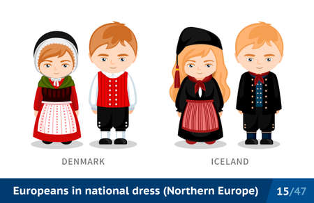 Denmark, Iceland. Men and women in national dress. Set of European people wearing ethnic clothing. Cartoon characters in traditional costume. Northern Europe. Vectores