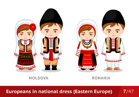 Moldova, Romania. Men and women in national dress. Set of European people wearing ethnic clothing. Cartoon characters in traditional costume. Eastern Europe.