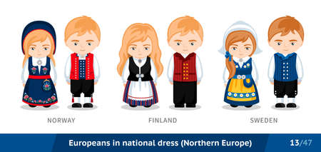 Norway, Finland, Sweden. Men and women in national dress. Set of European people wearing ethnic traditional costume. Isolated cartoon characters. Northern Europe.
