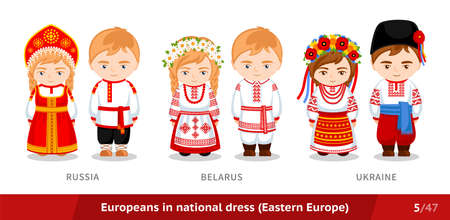 Russia, Belarus, Ukraine. Men and women in national dress. Set of European people wearing ethnic clothing.Cartoon characters in traditional costume. Eastern Europe.