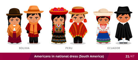 Bolivia, Peru, Ecuador. Men and women in national dress. Set of people wearing ethnic clothing. Cartoon characters in traditional costume. South America.