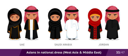 UAE, Saudi Arabia, Jordan. Men and women in national dress. Set of Asian people wearing ethnic traditional costume. Isolated cartoon characters. Southeast Asia. Vectores