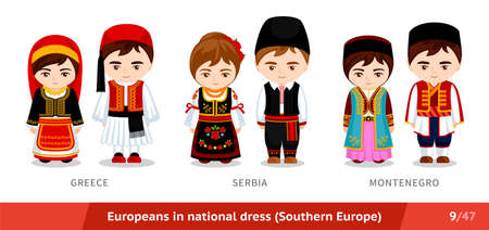Greece, Serbia, Montenegro. Men and women in national dress. Set of European people wearing ethnic clothing. Cartoon characters. Southern Europe. Vectores