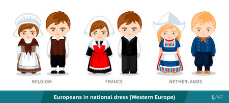 Belgium, France, Netherlands. Men and women in national dress. Set of European people wearing ethnic traditional costume. Isolated cartoon characters. Western Europe.