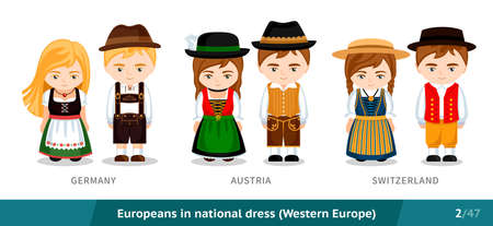 Germany, Austria, Switzerland. Set of European people wearing ethnic traditional costume. Men and women in national dress. Isolated cartoon characters. Western Europe.