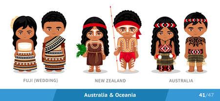 Fuji, New Zealand, Australia. Set of people wearing ethnic traditional costume. Isolated cartoon characters. Australia and Oceania.