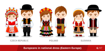 Czech Republic, Poland, Slovakia. Men and women in national dress. Set of European people wearing ethnic traditional costume. Isolated cartoon characters. Eastern Europe.
