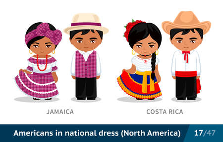 Men and women in national dress. Set of people wearing ethnic clothing. Cartoon characters in traditional costume. North America. Vectores
