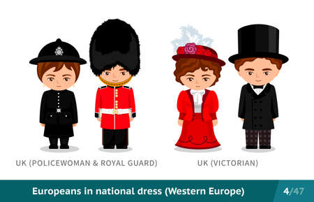 United Kingdom. Policewoman, royal guard, Victorians. English men and women in national dress. Set of European people wearing ethnic clothing. Cartoon characters.