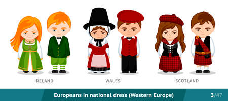 Ireland, Wales, Scotland. Men and women in national dress. Set of European people wearing ethnic traditional costume. Isolated cartoon characters. Western Europe. Vectores