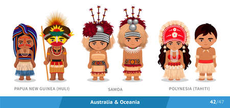 Papua New Guinea, Huli tribe, Samoa, Polynesia, Tahiti. Set of people wearing ethnic traditional costume. Isolated cartoon characters. Australia and Oceania.