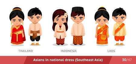 Thailand, Indonesia, LAOS. Men and women in national dress. Set of asian people wearing ethnic traditional costume. Isolated cartoon characters. Southeast Asia.