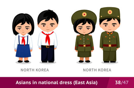 North Korea. School and military uniform. Set of asian people. Isolated cartoon characters. East Asia. Vectores