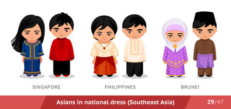 Singapore, Philippines, Brunei. Men and women in national dress. Set of asian people wearing ethnic traditional costume. Isolated cartoon characters. Southeast Asia.