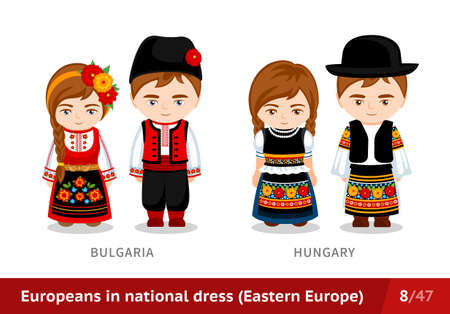Bulgaria, Hungary. Men and women in national dress. Set of European people wearing ethnic clothing. Cartoon characters in traditional costume. Eastern Europe.