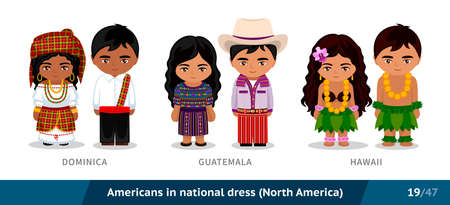 Dominica, Guatemala, Hawaii. Men and women in national dress. Set of people wearing ethnic clothing. Cartoon characters. North America.