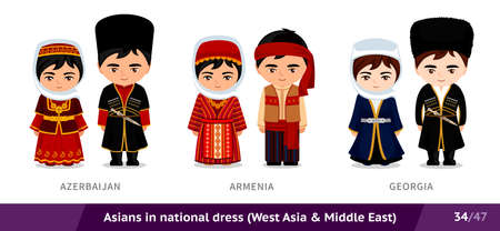 Azerbaijan, Armenia, Georgia. Men and women in national dress. Set of asian people wearing ethnic traditional costume. Isolated cartoon characters. Southeast Asia.