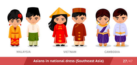Malaysia, Vietnam, Cambodia. Men and women in national dress. Set of asian people wearing ethnic traditional costume. Isolated cartoon characters. Southeast Asia.