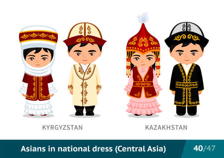 Kyrgyzstan, Kazakhstan. Men and women in national dress. Set of asian people wearing ethnic traditional costume. Isolated cartoon characters. Central Asia.  イラスト・ベクター素材