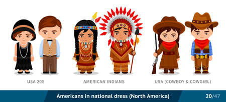 USA 20s, American Indians, USA, cowboy and cowgirl. Men and women in national dress. Set of people wearing ethnic clothing. Cartoon characters. North America. Vectores