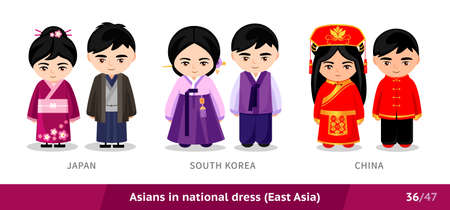 Japan, South Korea, China. Men and women in national dress. Set of asian people wearing ethnic traditional costume. Isolated cartoon characters. East Asia.  イラスト・ベクター素材