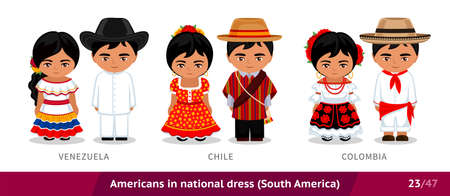 Venezuela, Chile, Colombia. Men and women in national dress. Set of latin americans wearing ethnic clothing. Cartoon characters in traditional costume. South America.