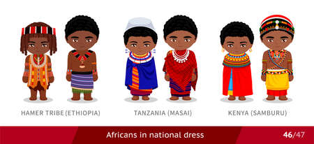Hamer Tribe, Ethiopia, Tanzania, Masai, Kenya, Samburu. Men and women in national dress. Set of african people wearing ethnic traditional costume. Isolated cartoon characters.  イラスト・ベクター素材