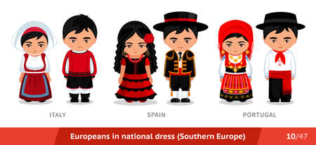 Italy, Spain, Portugal. Men and women in national dress. Set of European people wearing ethnic clothing. Cartoon characters in traditional costume. Southern Europe.