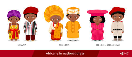 Ghana, Nigeria, Herero, Namibia. Men and women in national dress. Set of african people wearing ethnic traditional costume. Isolated cartoon characters. Vectores