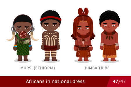 Mursi, Ethiopia, Himba Tribe. Men and women in national dress. Set of african people wearing ethnic traditional costume. Isolated cartoon characters.