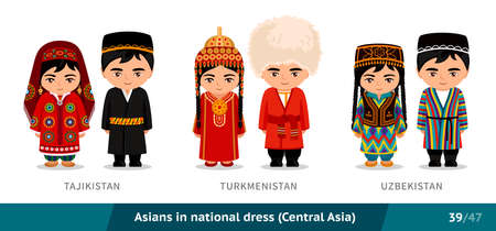 Tajikistan, Turkmenistan, Uzbekistan. Men and women in national dress. Set of asian people wearing ethnic traditional costume. Isolated cartoon characters. Central Asia. Vectores