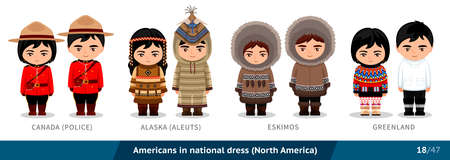 Canadian police, Alaska, aleuts, eskimos, Greenland. Men and women in national dress. Set of people wearing ethnic clothing. Cartoon characters. North America.