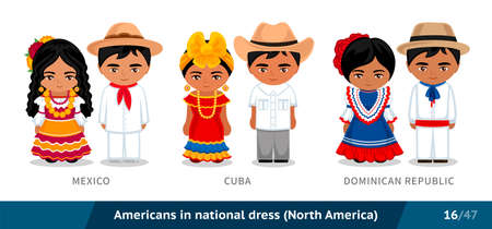 Mexico, Cuba, Dominican Republic. Men and women in national dress. Set of latin americans wearing ethnic clothing. Cartoon characters in traditional costume. North America.