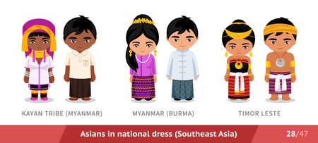 Kayan Tribe, Myanmar, Burma, Timor Leste. Men and women in national dress. Set of asian people wearing ethnic traditional costume. Isolated cartoon characters. Southeast Asia.