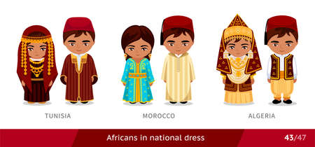 Tunisia, Morocco, Algeria. Men and women in national dress. Set of african people wearing ethnic traditional costume. Isolated cartoon characters.